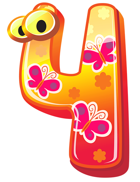 Cute Number Four PNG Clipart Image Clip art, Numbers for