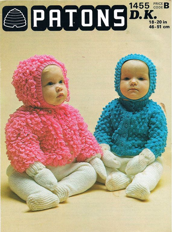 Vintage Knitting Pattern Pdf 1970s Patons Baby Bobble Or Loopy
