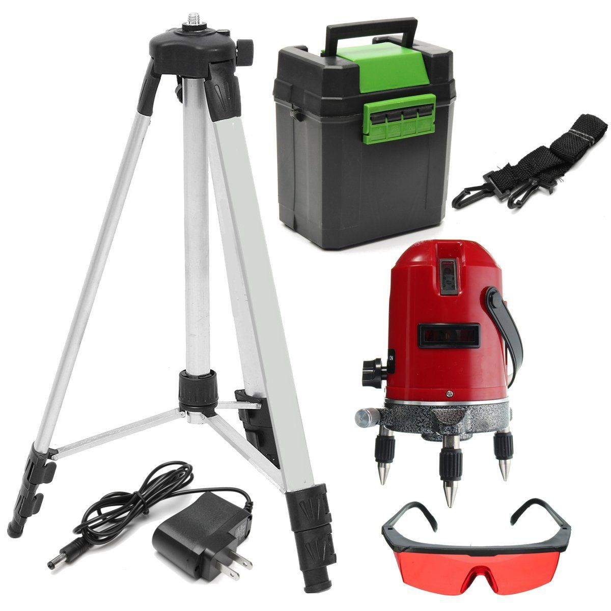 Red 5 Line 6 Point Laser Level 360 Rotary Self Leveling Laser Level With Tripod Tripod Rotary Aluminium Alloy