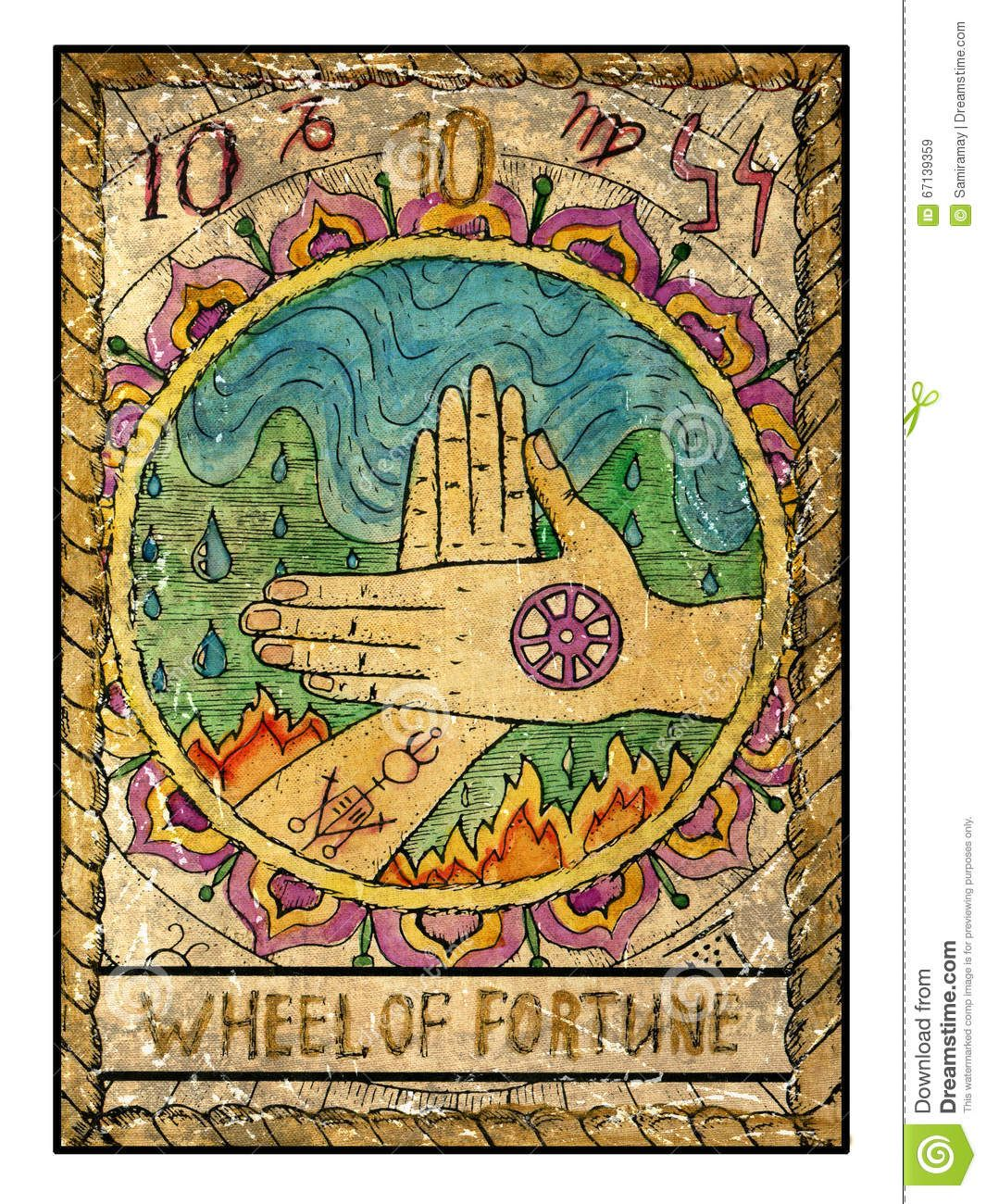 Old Tarot Cards Full Deck Wheel Of Fortune Stock Illustration Image 67139359 Tarot Karten Kunst Mystische Symbole Tarotkarten Lesen