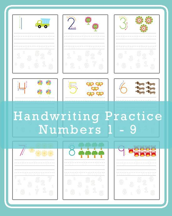 Handwriting Practice - Numbers 1 -9 | Handwriting practice, Math ...