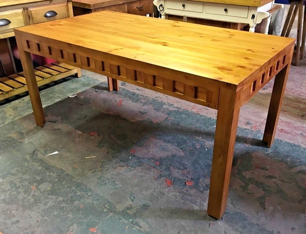 Pine Dining Table 2 Tone Light Wood Kitchen Ex Display