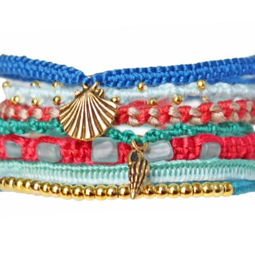 friendship bracelets with charms & beads.
