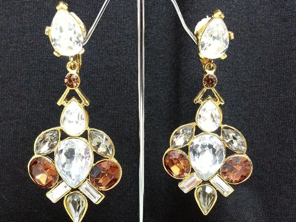 Barrera Earrings Crystal Rhinestone Topaz Statement Goldtone Clip on #Barrera #Statement #Rhinestone