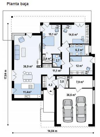 Plano y fachada de casa moderna de 3 dormitorios 1 planta for Casa moderna 5 dormitorios