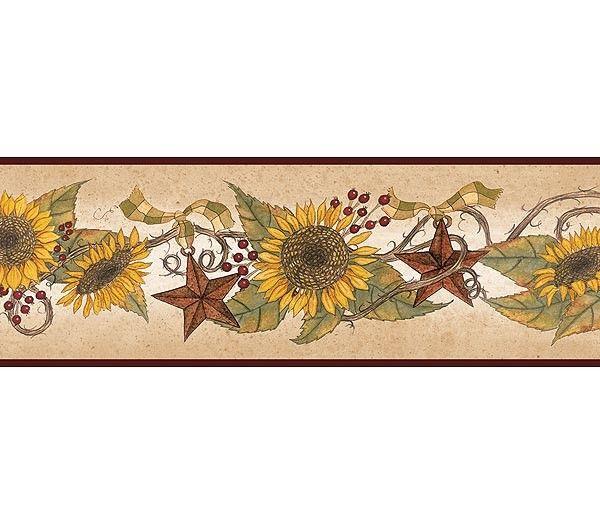 Interior Place Linda Spivey Sunflower Garland Wallpaper Border