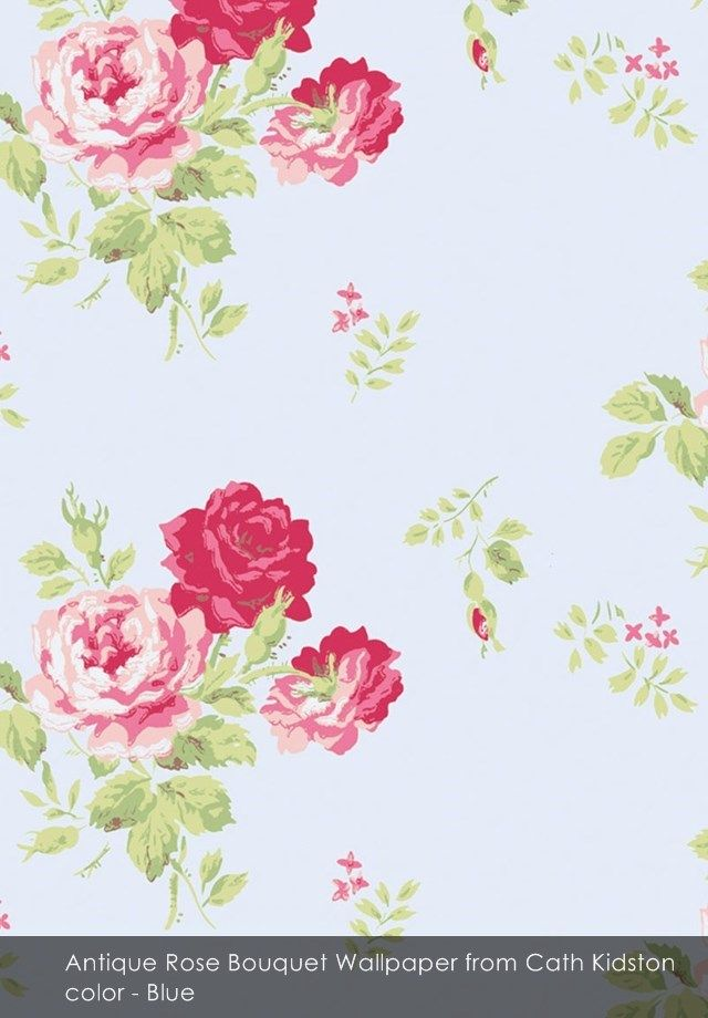 Antique Rose Bouquet Wallpaper From Cath Kidston In Blue