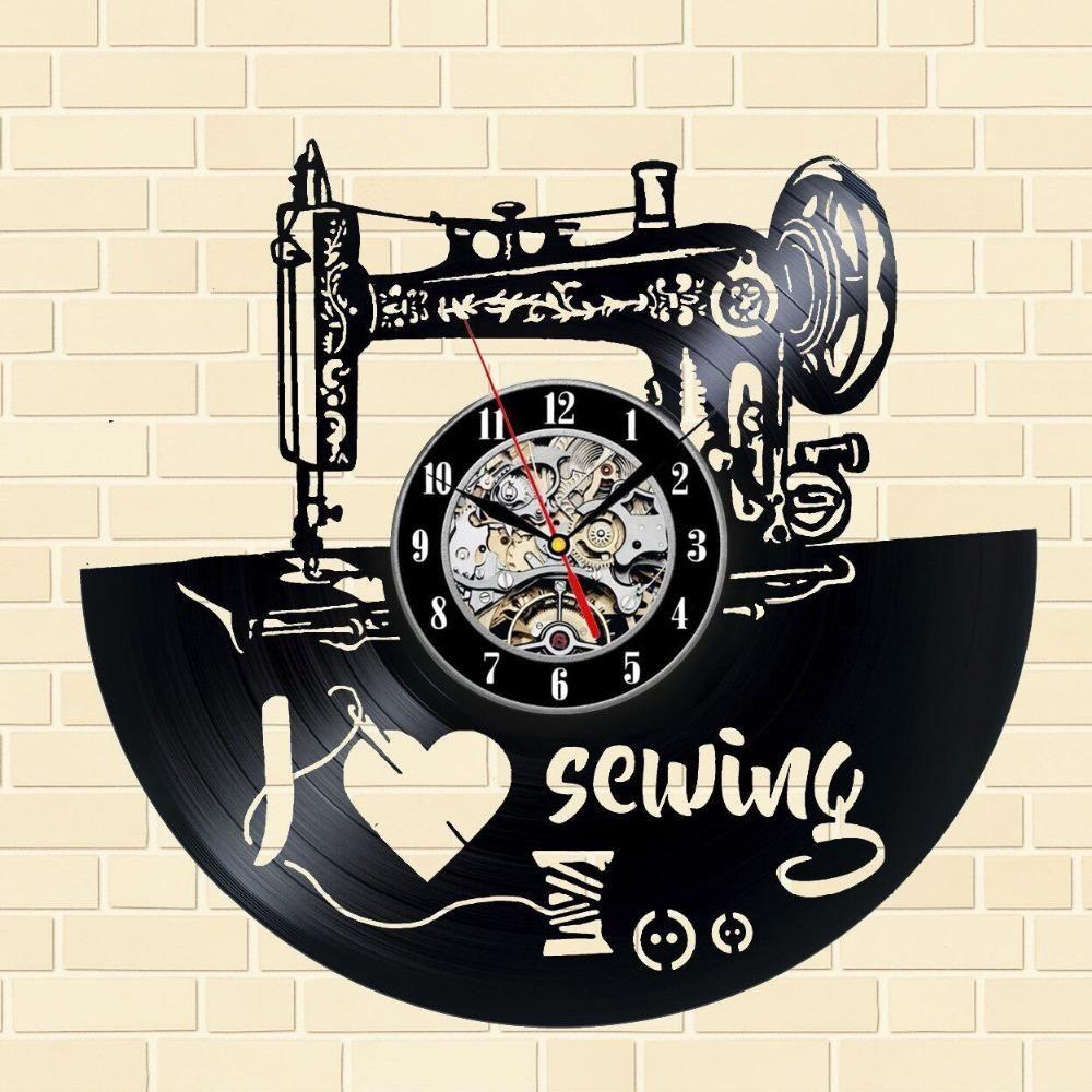 I Love Sewing Vinyl Record Wall Clock Sewing Machines Best Sewing Machine Wall Clock Modern