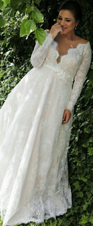 Plus size classy wedding gown with long sleeves, French lace and a ...