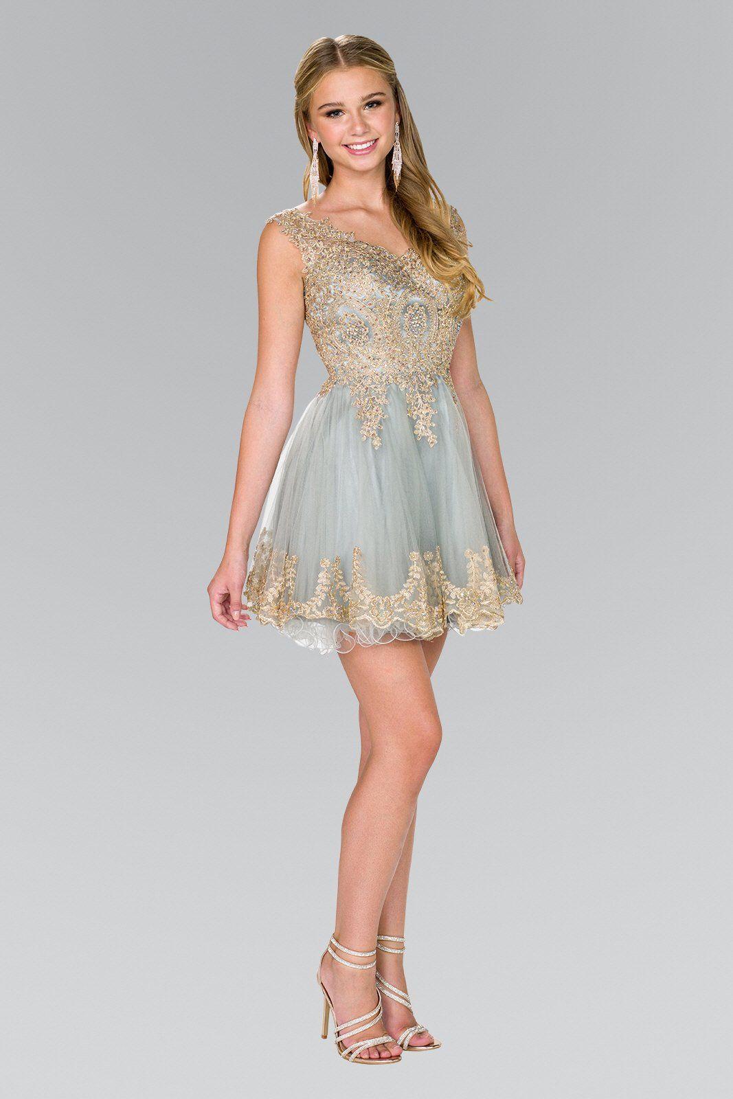 Gold Lace Short Formal Dresses