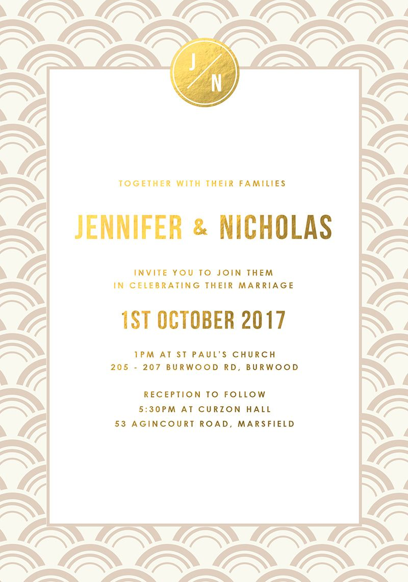 Ivory and Gold Foil Art Deco Wedding Invitations | Luxe wedding and ...
