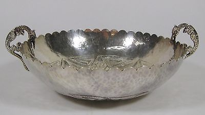 Vintage Peruvian South American Hammered Silver Plate Handled Ceremonial Bowl
