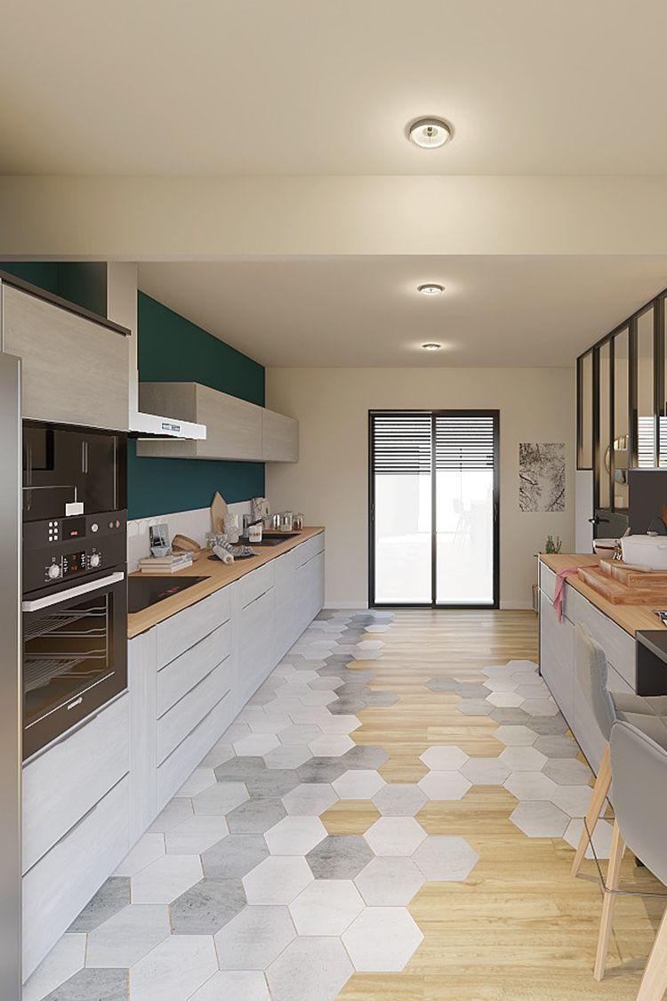 Projet 3d Réalisé Par Charlène Une Pièce De Vie Style Design Et Contemporain Cuisine Modern Kitchen Flooring Modern Kitchen Design Modern Kitchen Tile Floor