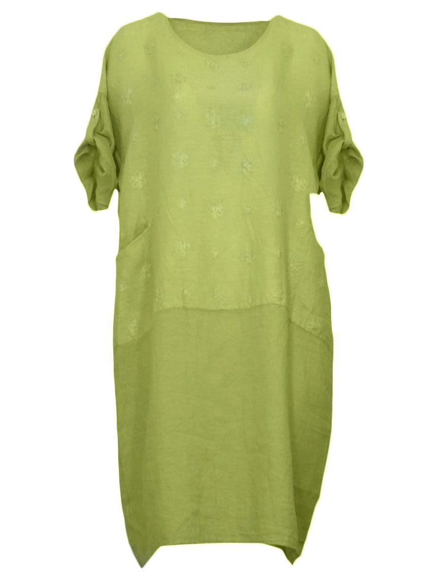 damen leinenkleid bestickt, grün von puro lino bei www