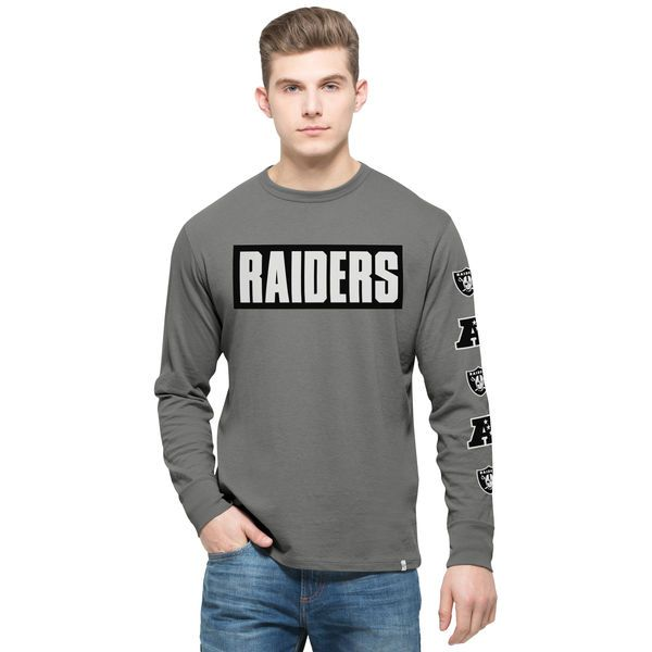 Oakland Raiders '47 Crosstown Team Flanker Long Sleeve T-Shirt - Gray - $31.99