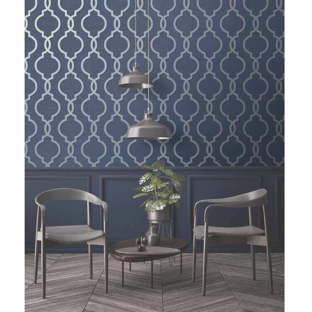 Holden Decor Latica Geometric Trellis Navy Wallpaper Blue Geometric Wallpaper Navy Wallpaper Decor