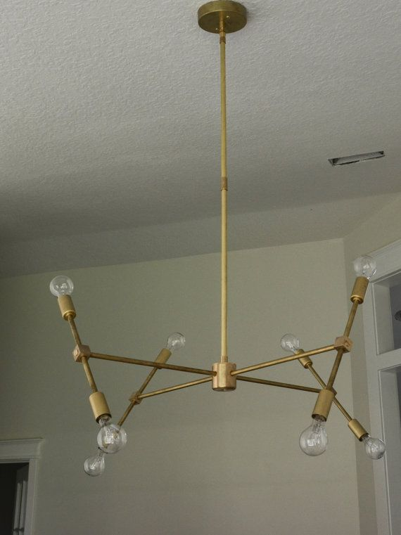 Modern brass hanging pendant chandelier lighting the scarlett model items similar to scarlett solid brass sputnik chandelier ul listed on etsy aloadofball Image collections