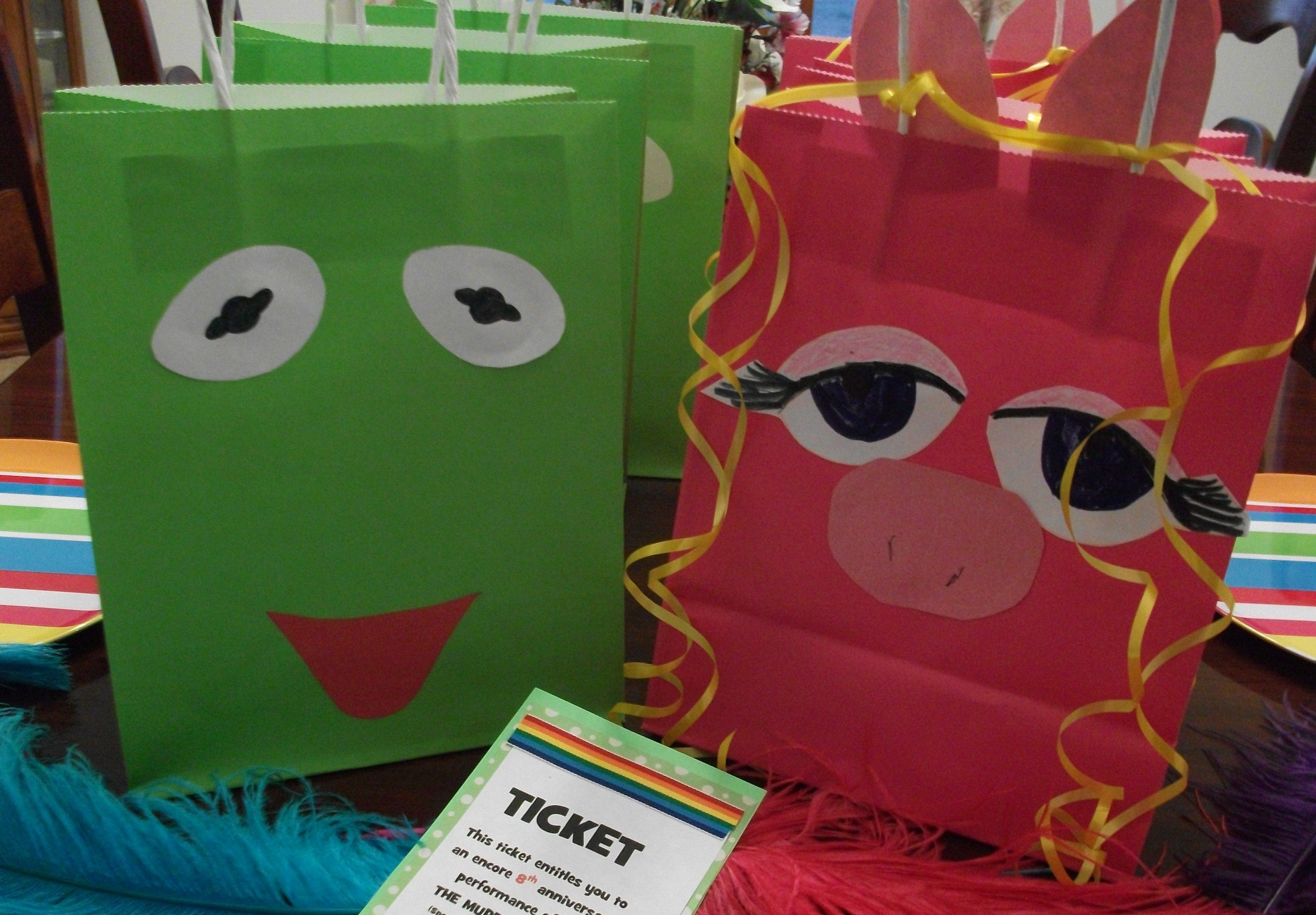 Kermit And Piggy Gift Bags, For Muppet Party Theme I