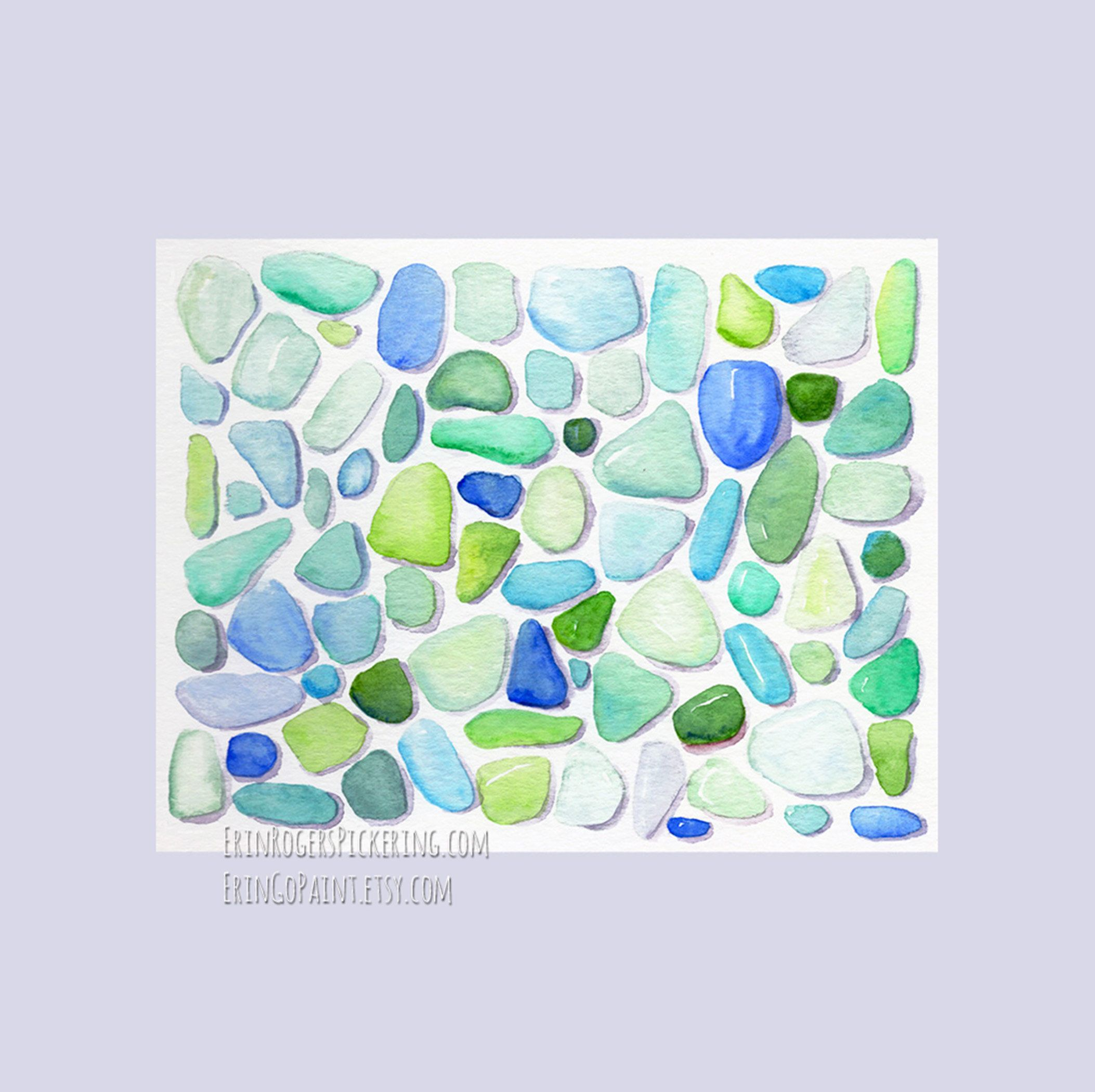 Sea Glass 8x10 Fine Art Print Of Watercolor Painting Art Prints