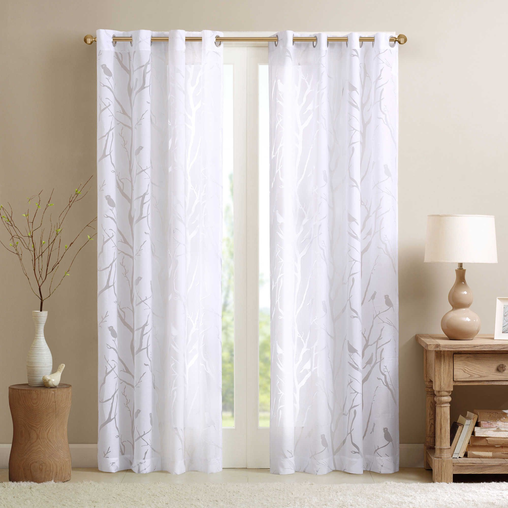 Madison park averil sheer bird 63 inch grommet top window for Grommet curtains with sheers