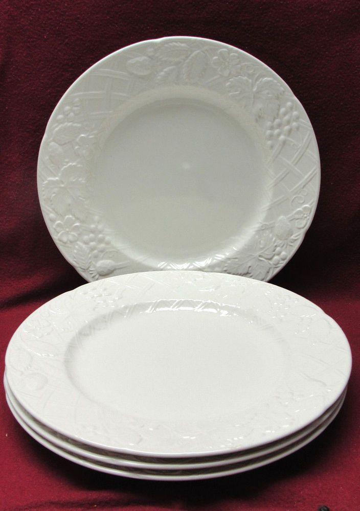 SET of FOUR (4) MIKASA CHINA - ENGLISH COUNTRYSIDE WHITE Pattern - DINNER PLATES & SET of FOUR (4) MIKASA CHINA - ENGLISH COUNTRYSIDE WHITE Pattern ...