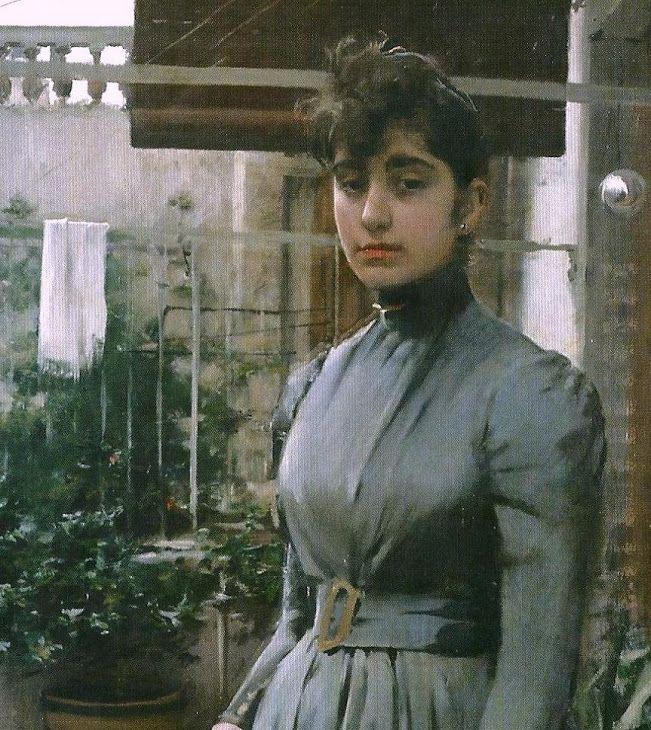 Ramón Casas. Retrato de Elisa Casa y Carbo 1889, detalle