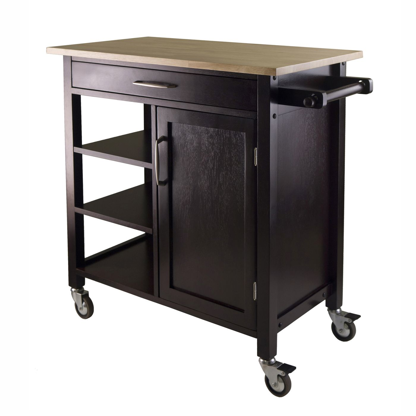 Black Kitchen Islands Lowes With Open Shelves And Single Drawer For Furniture Ideas