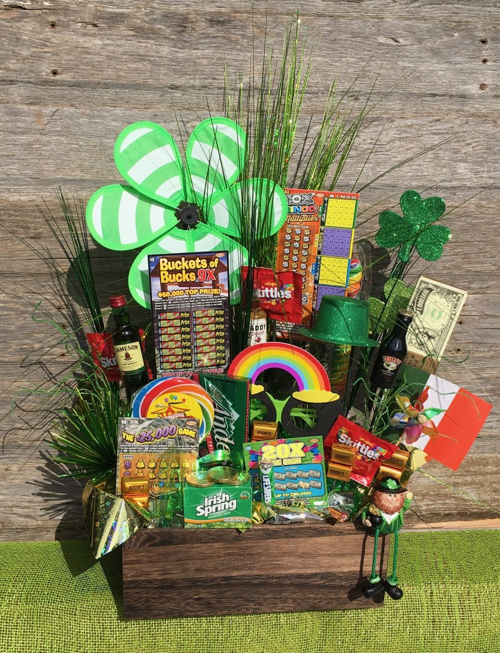 St  Patrick's Day raffle door prize basket What I used