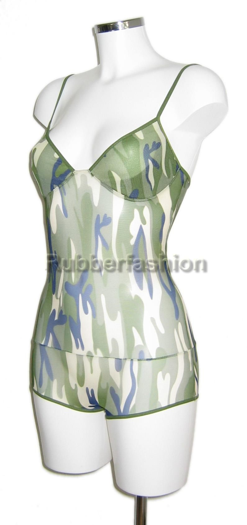 Wetlook army body and pvc miniskirt in thick quality PVC