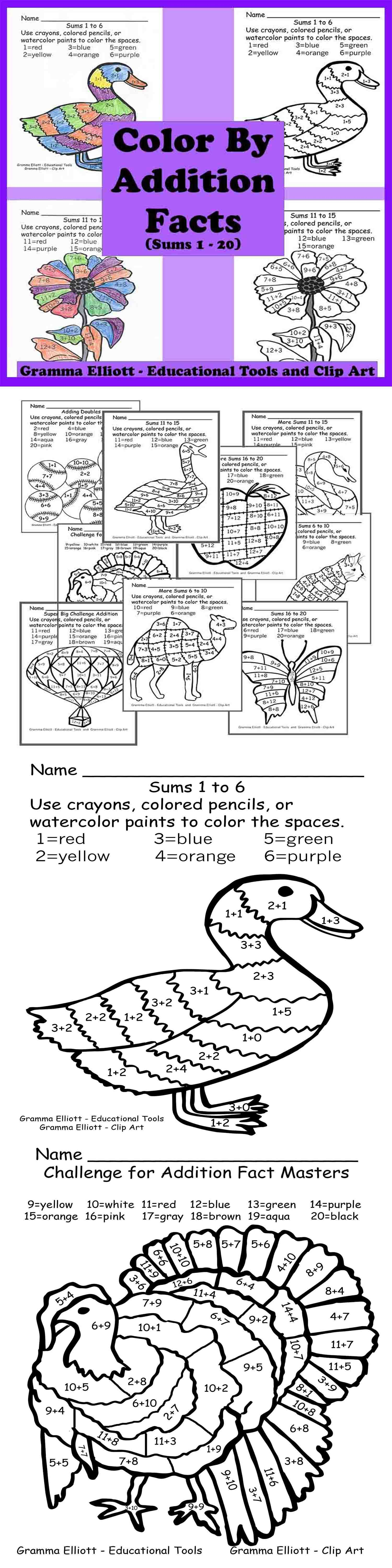 Color By Addition Facts No Prep K