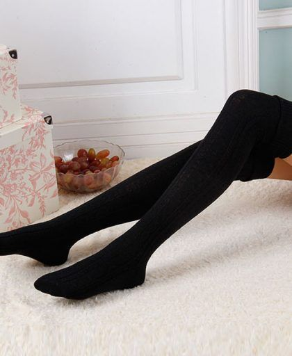 844b2774e59 Fashion Sexy Women s Stockings Warm Long Socks Cotton Over Knee Socks Women  Winter High Thigh Knitted Stockings 9 Color Stocking