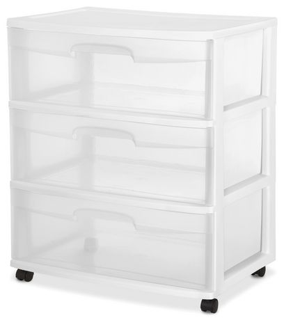 Sterilite  Plastic Drawer Wide Cart Storage Organizer With Ergonomic Handles Casters White