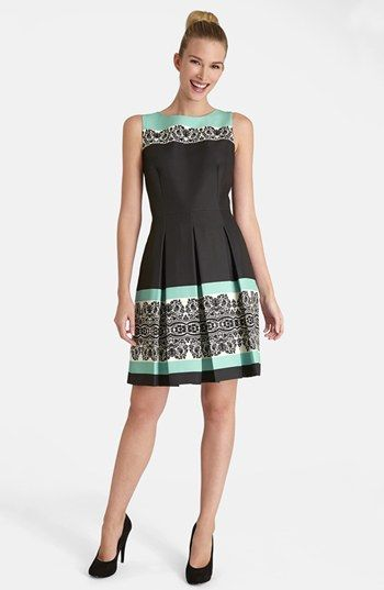 Tahari Print Twill Fit & Flare Dress available at #Nordstrom