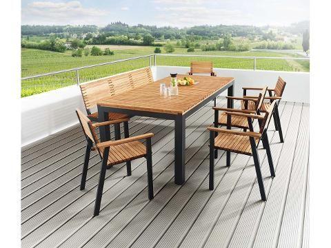 Gartenmobel Set Sassa 7 Teilig 5 Sessel 1 Bank 1 Tisch 200 X 100 Cm Gartenmobel Gartenmobel Holz Rustikale Gartenmobel