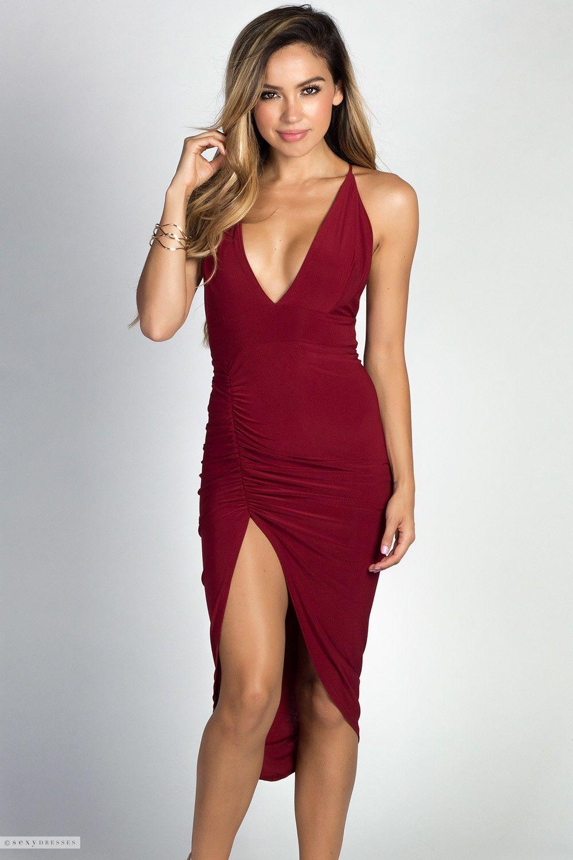 Deep V Spaghetti Strap Asymmetrical Backless Burgundy Dress With Thigh High Leg Dresses Backless Midi Dress Burgundy Dress [ 1500 x 1000 Pixel ]