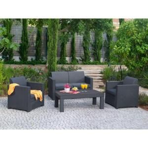 Keter Limousine 4 Piece Patio Conversation Set With Charcoal Cushions 206018 At The Home Depot 799 99 Conversation Set Patio Patio Outdoor Furniture Sets