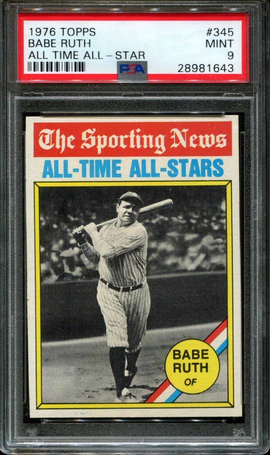 Babe ruth psa 9 mint 1976 topps baseball card yankees