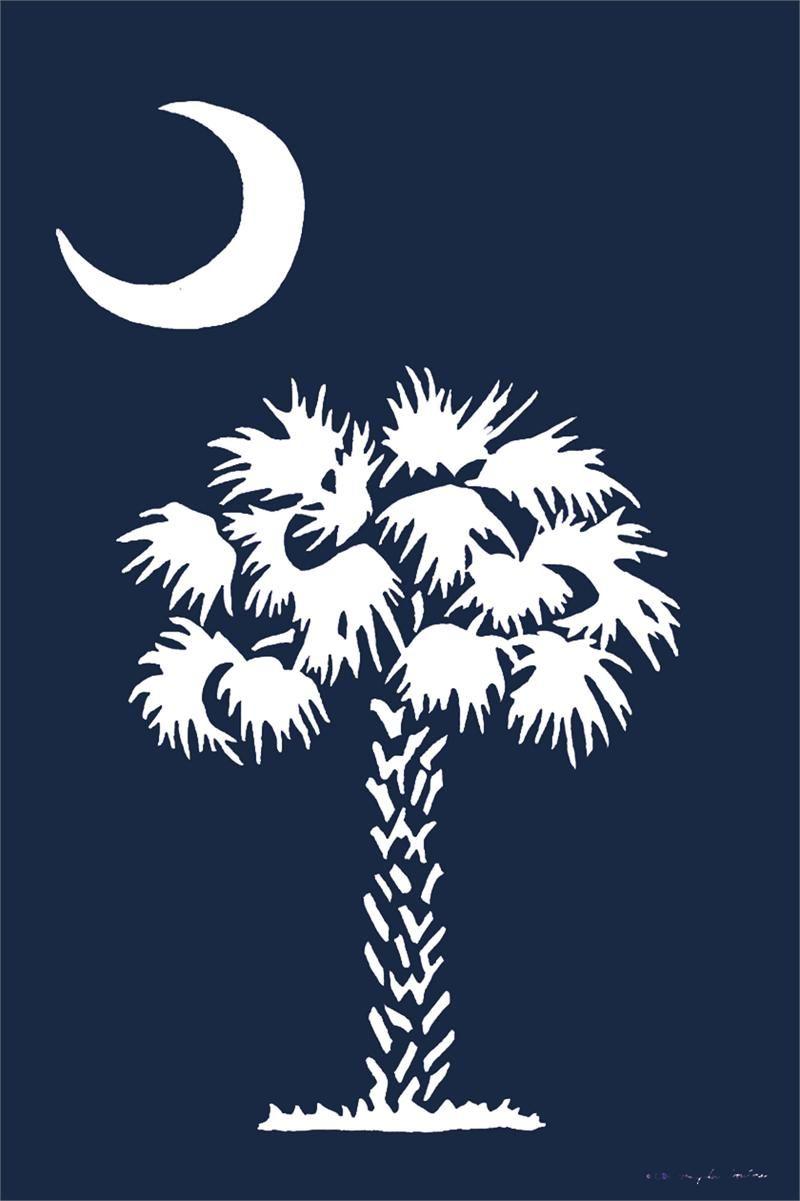 Custom d cor garden flag palmetto moon carolina south for Palmetto tree and moon tattoo