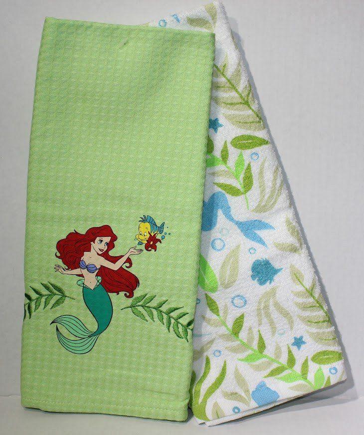 Ariel & Flounder Little Mermaid Kitchen Dish Towel Set ...