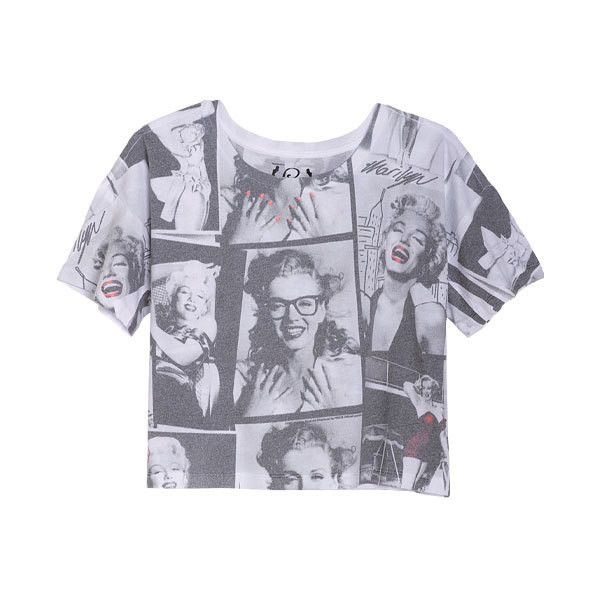 b1ee4ef5 Marilyn Monroe Colage Tee ($25) ❤ liked on Polyvore featuring tops, t-shirts,  shirts, crop tops, view all graphic tees, crop top, cropped graphic tees,  ...