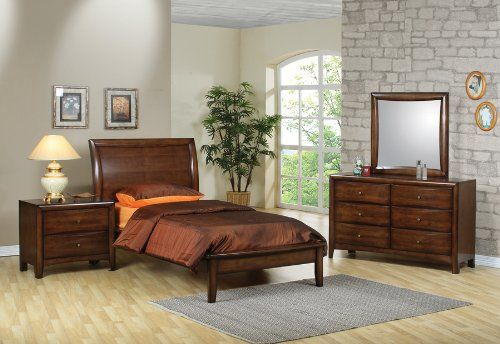 4pc Twin Size Bedroom Set Contemporary Style in Brown Finish