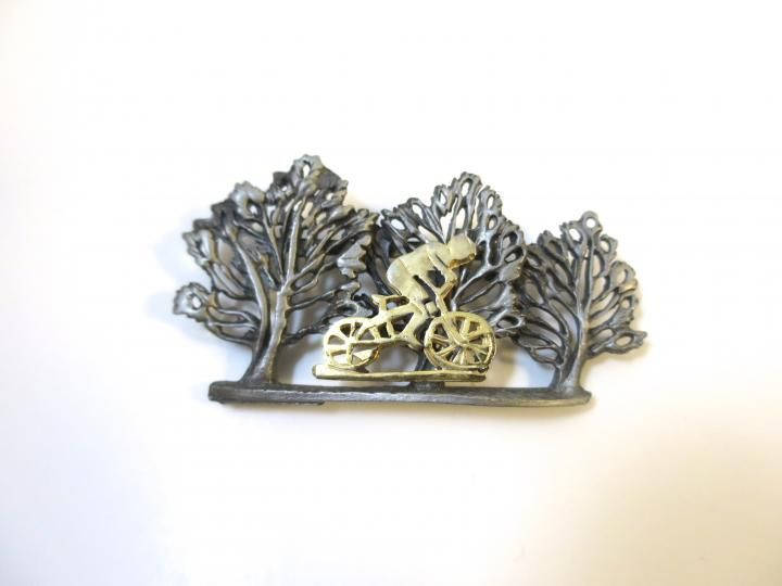 Bicyclist Brooch Signed Ultra Modern Sculptural Hand Made Gold Tone Bicycle Rider Pewter Finish Trees Scenic Cyclist 1970's Brooch   https://www.etsy.com/listing/274490696/bicy...
