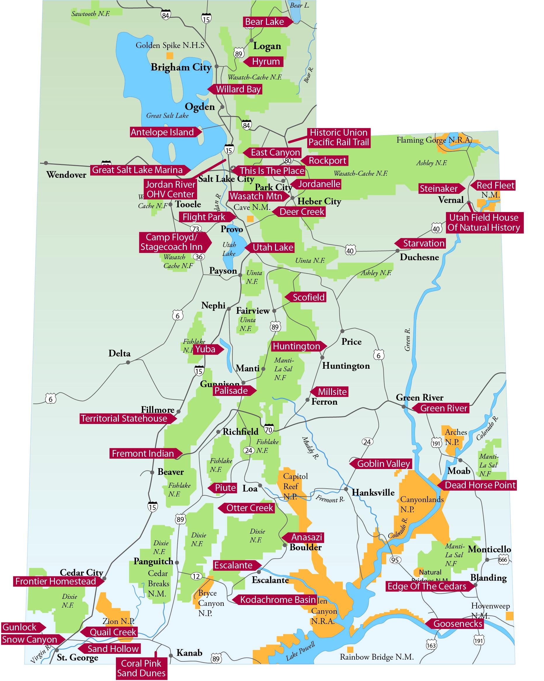 State Parks In Utah Map Mini Vacation Utah Travel Utah State Parks