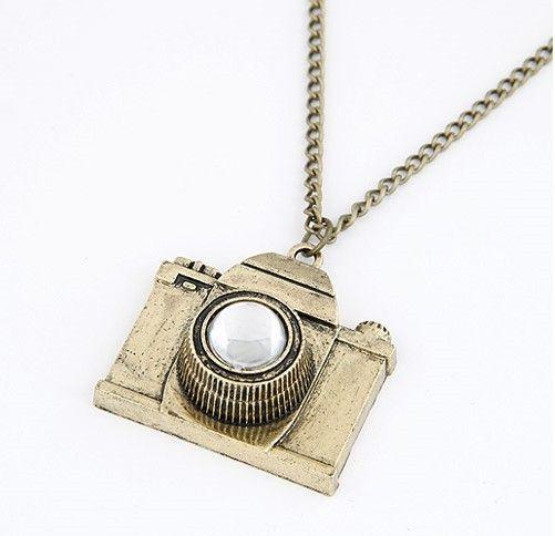 fashion Retro alloy pearl amera Long Necklaces