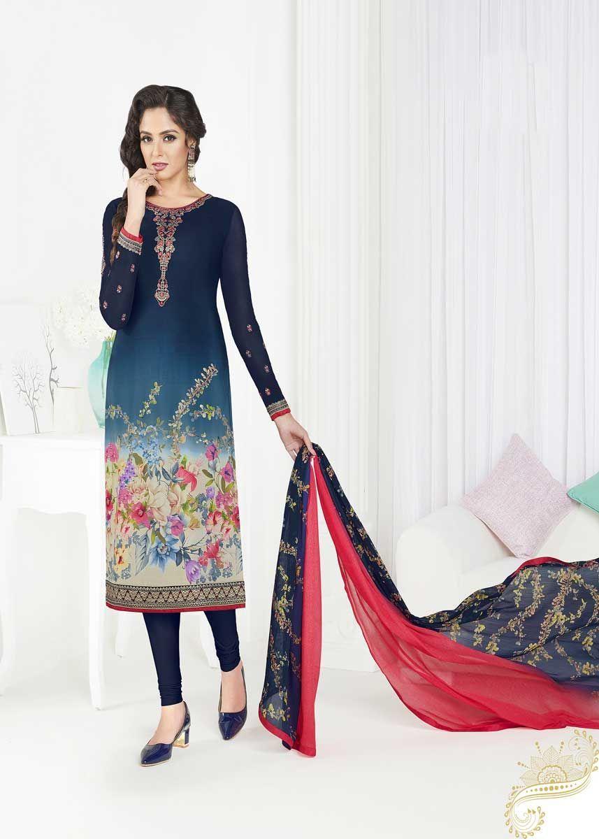 4655a98cda Fancy Navy Blue Color French Crape Fabric Party Wear Churidar Salwar Kameez