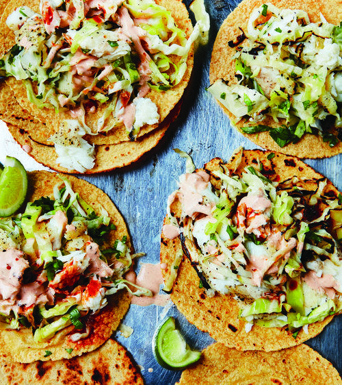 Baja-Style Fish Tacos with Grilled Slaw and Chipotle Mayo — Mark Bittman