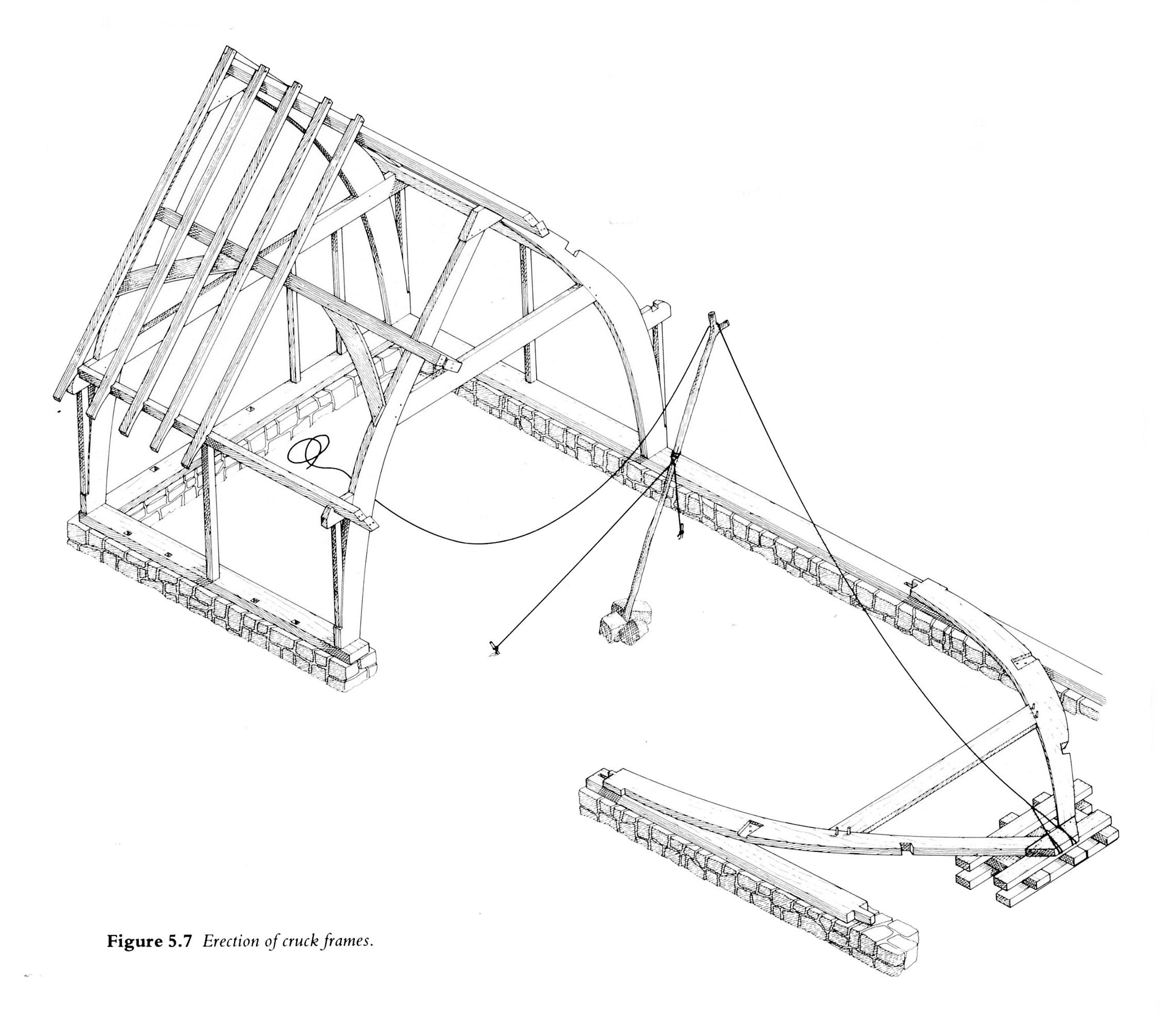 Traditional cruck frame erection | Bale house | Pinterest | Frame ...
