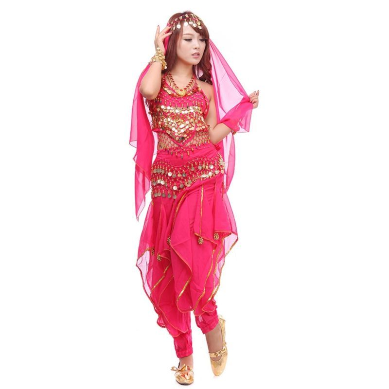New Belly Dance Costume Set Bollywood Top Gold Wavy Harem Pants Belt Party Sets