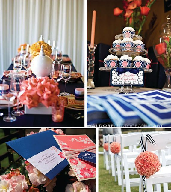 Coral Wedding Reception Ideas: Coral And Navy Wedding Decor...I Really Like These Colors