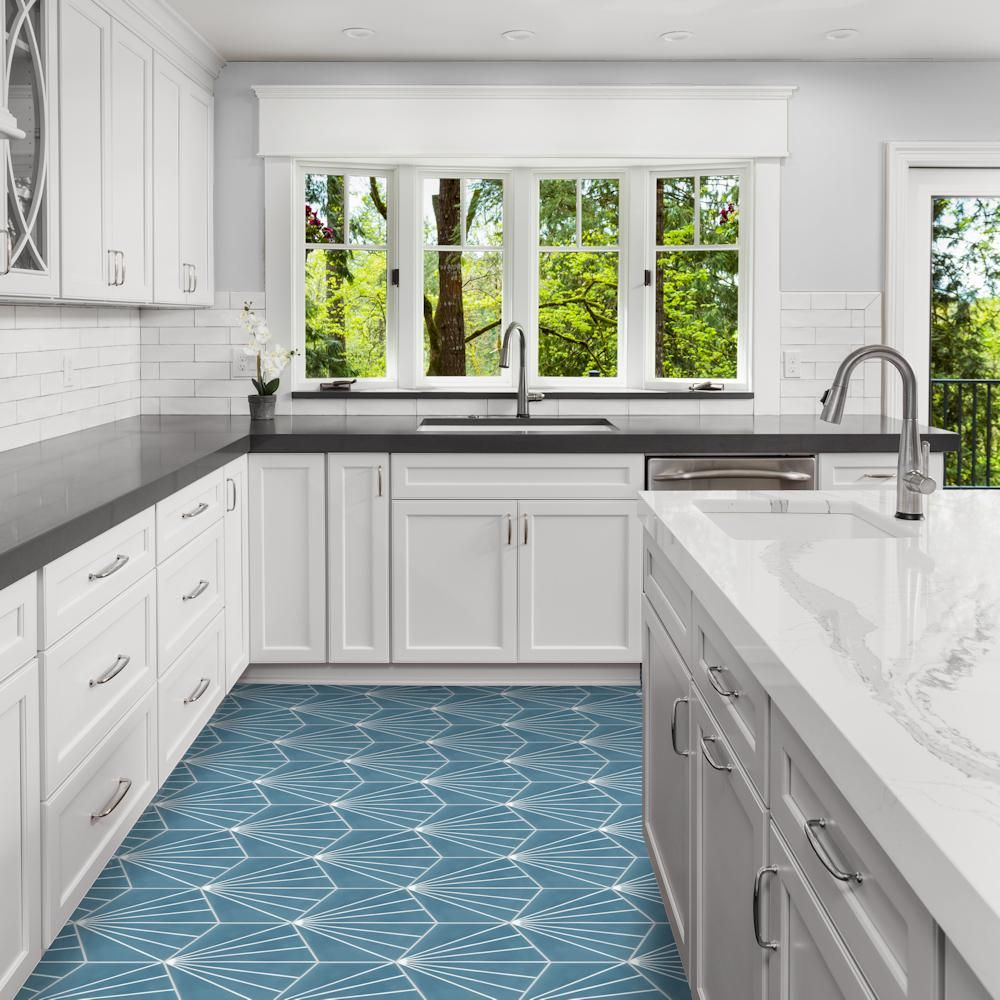 Villa Lagoon Tile Spark C Stone Blue Ps 7 7 8 In X 7 7 8 In Cement Handmade Floor And Wall Tile Sb20rh16 Spa Villa Lagoon Tile Cement Tile Kitchen Flooring